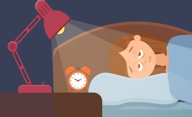 Sleepless woman face cartoon character suffers from insomnia problem